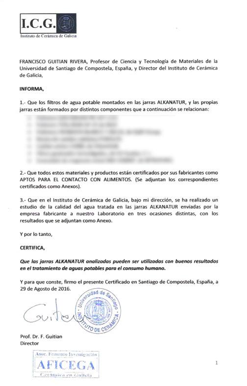 Certificado Contacto Alimentario - Productos Alkantur