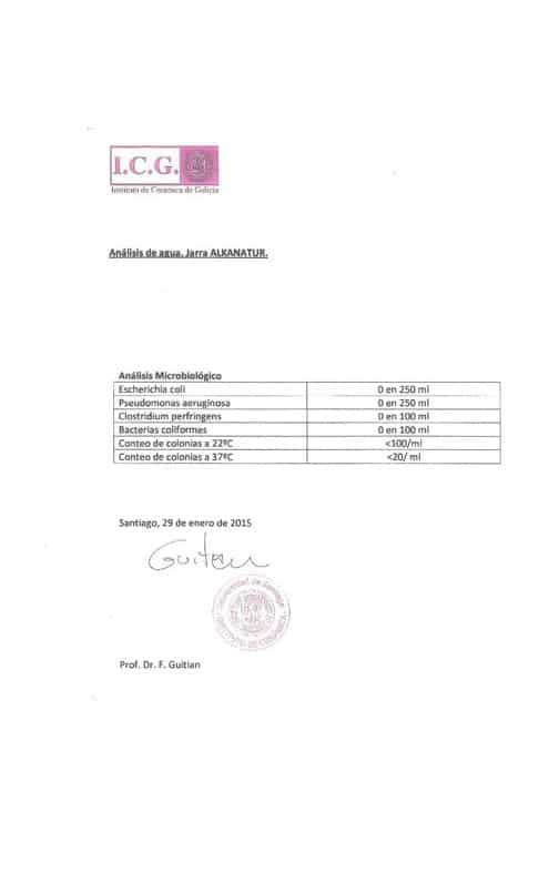 Certificado Jarra Alcalinizadora - Filtro Antibacterias