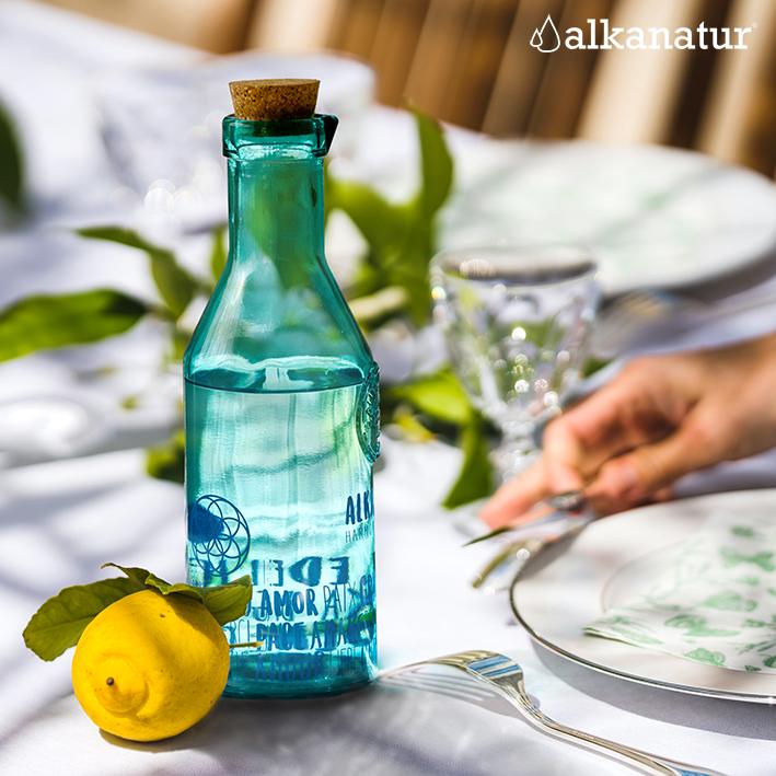 Botellas de agua 100% vidrio reciclado