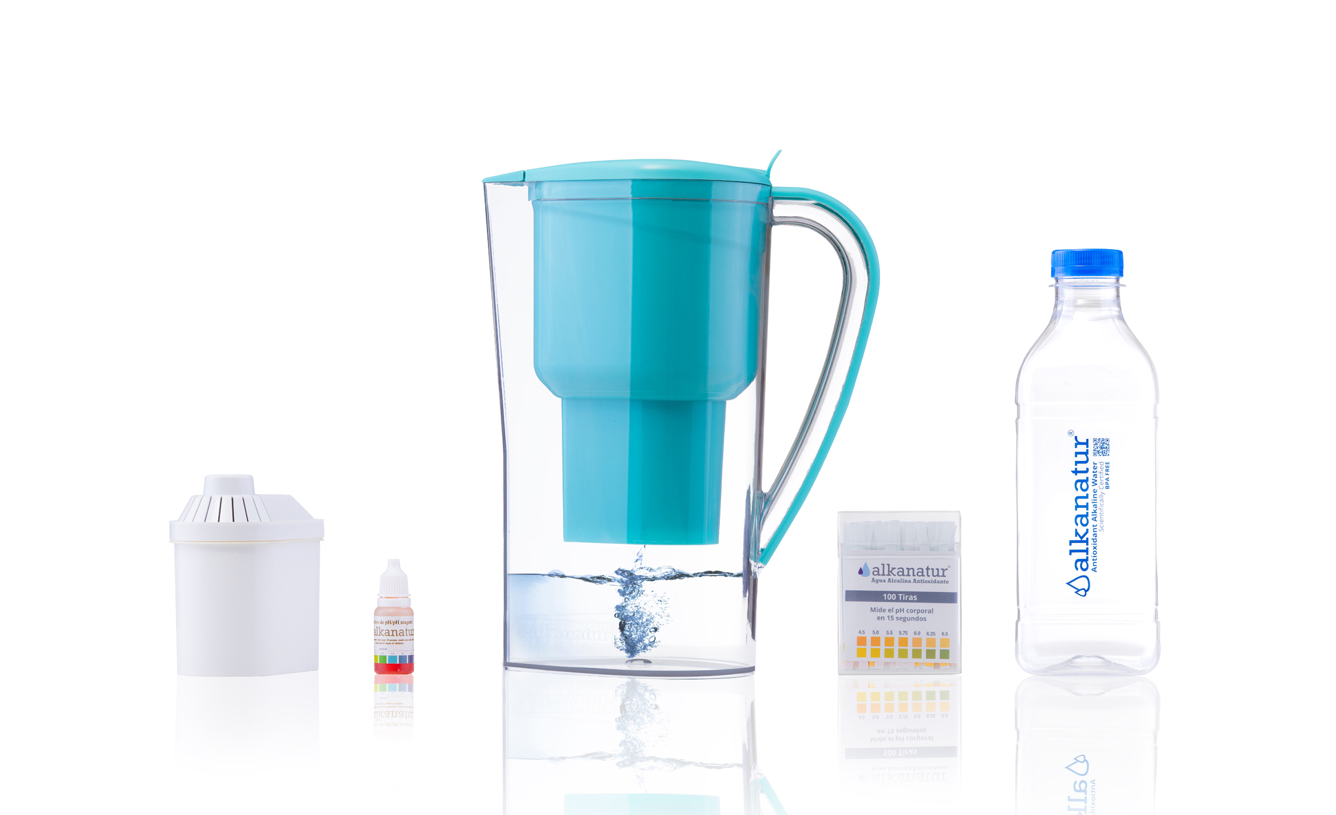 Set Jarra alcalinizadora de agua - filtro de agua - botella para agua
